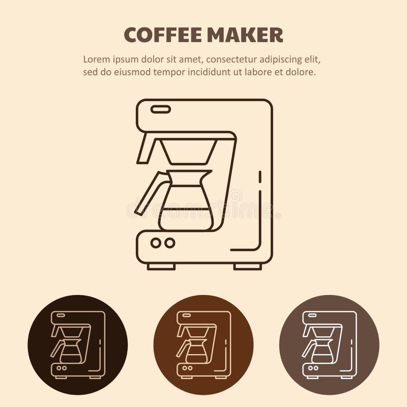 现代咖啡机器线象 库存例证