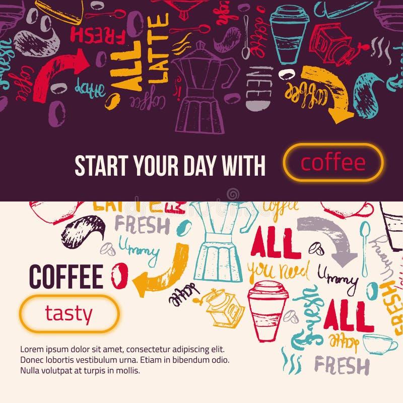 现代咖啡横幅字法 包裹的五颜六色的传染媒介背景,横幅 皇族释放例证