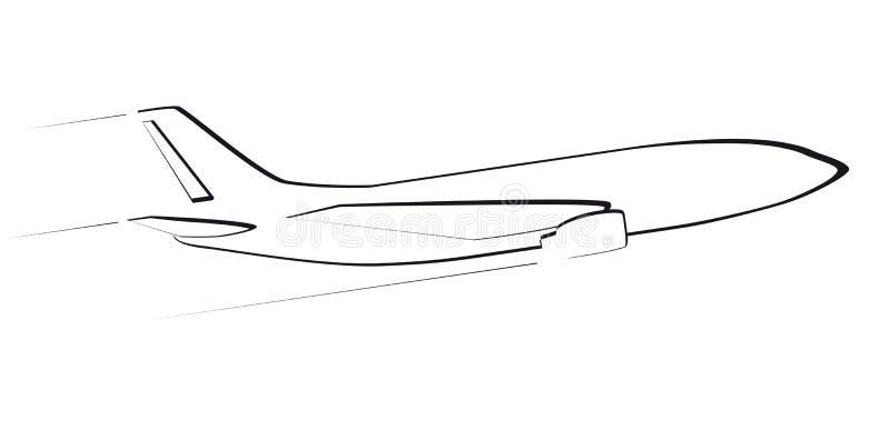 现代喷气机的等高 侧视图 在飞行中 向量例证