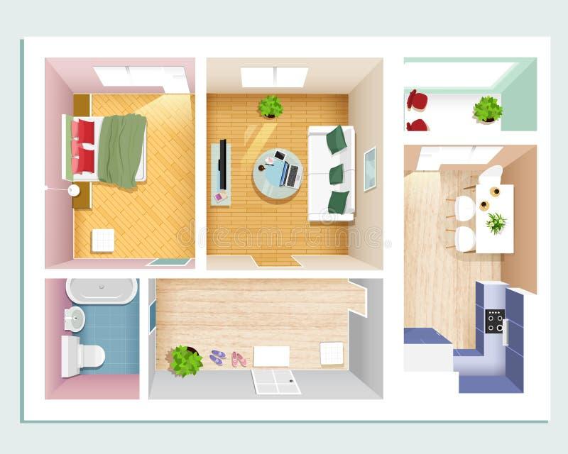 现代图表公寓顶视图:卧室、客厅、厨房、大厅和卫生间 被设置的时髦的平的室内部 向量例证