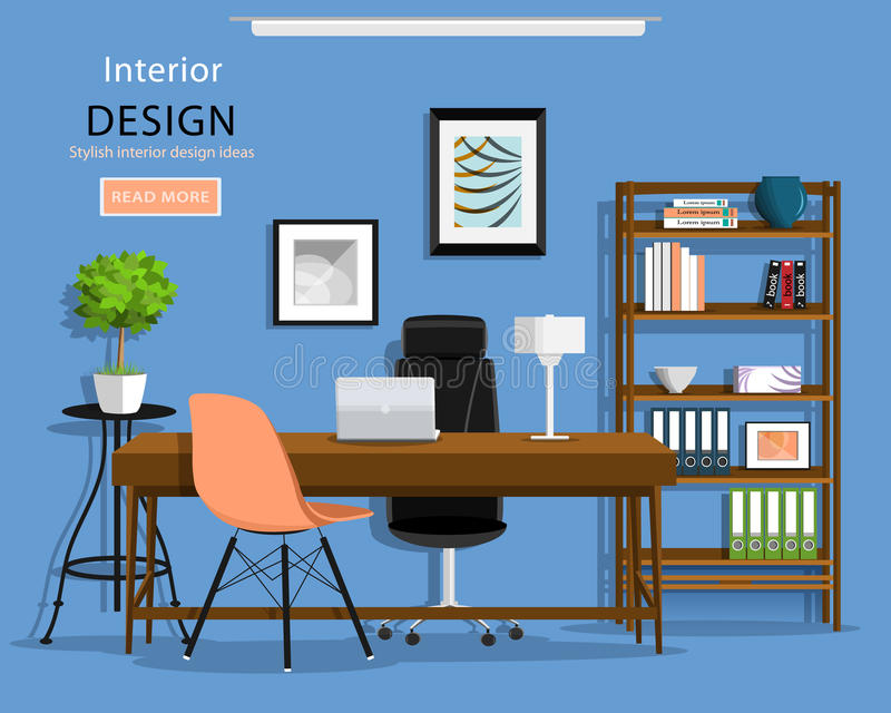 现代图表办公室室内部:书桌,椅子,书橱,膝上型计算机,灯 也corel凹道例证向量 向量例证