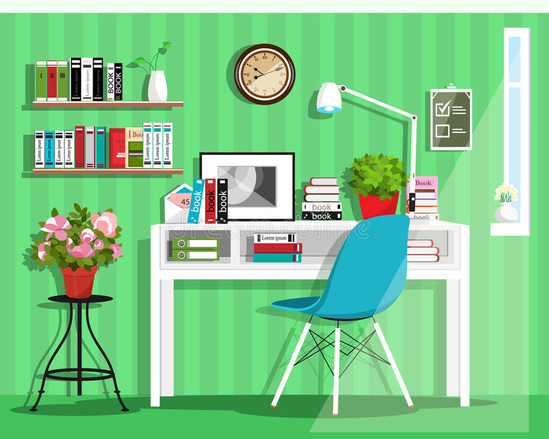 现代图表家庭办公室室内设计 被设置的平的样式传染媒介:书桌,椅子,灯,架子,时钟,花盆 库存例证