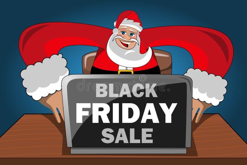 现代圣诞老人购买互联网计算机黑色星期五销售 向量例证