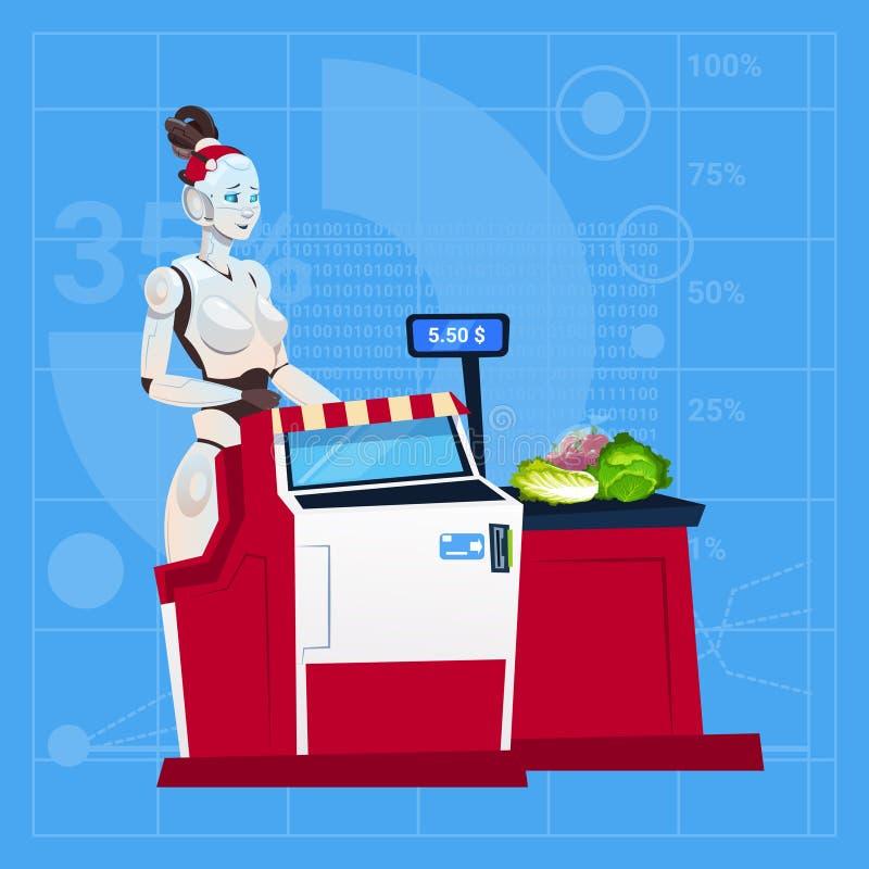 现代在商城出纳员的机器人女性工作在超级市场未来派人工智能技术概念 库存例证