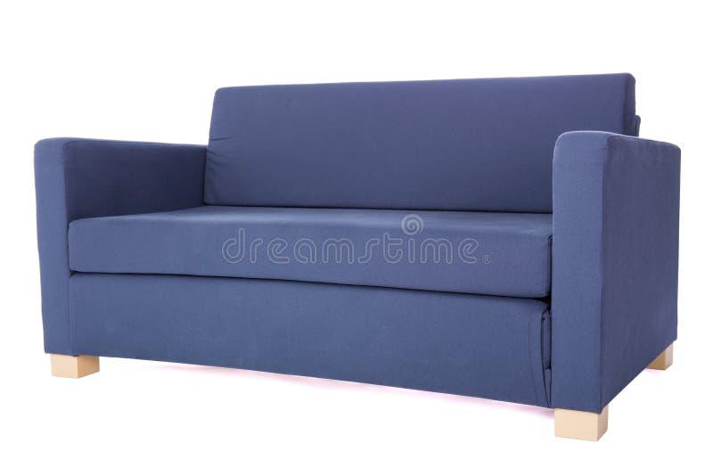 现代在白色隔绝的两位子灰色沙发 免版税库存图片