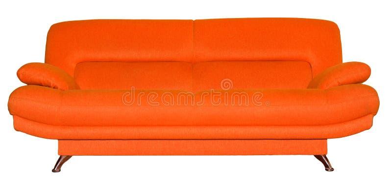 现代在白色隔绝的织品橙色沙发 免版税库存照片