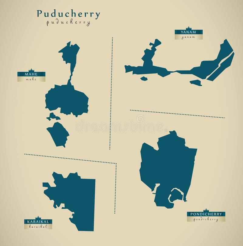 现代地图-在印度联邦政府例证的Puducherry 向量例证