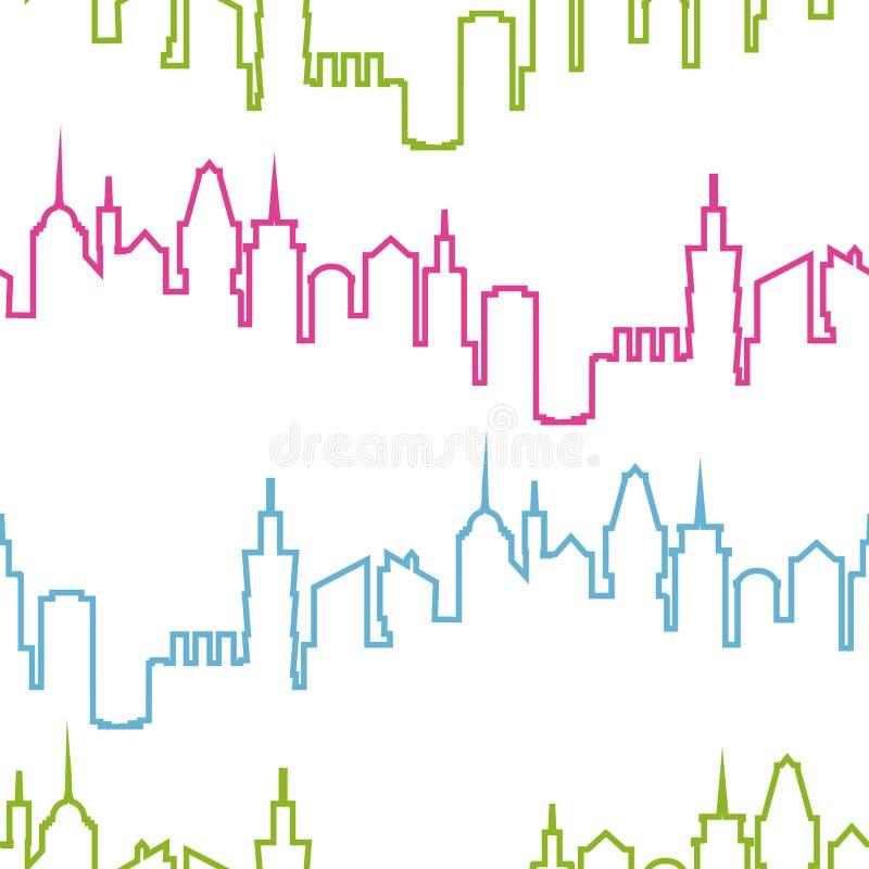 现代城市剪影无缝的样式 都市设计的传染媒介例证 楼房建筑墙纸 艺术镇 皇族释放例证