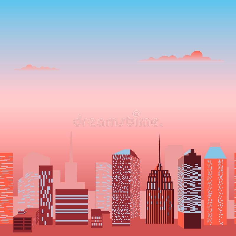 现代城市地平线传染媒介 向量例证
