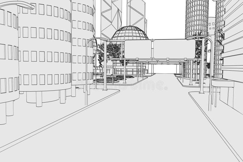 现代城市的图象 向量例证