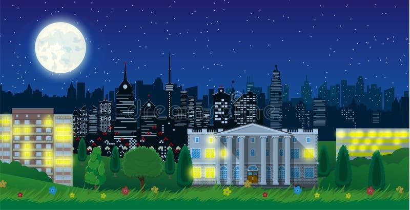 现代城市视图在夜 都市风景和公园 皇族释放例证