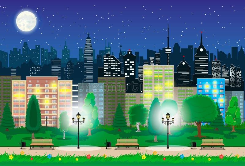 现代城市视图在夜 都市风景和公园 库存例证