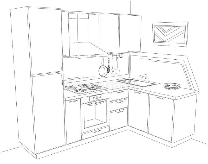 现代壁角厨房内部的抽象剪影3d例证 皇族释放例证