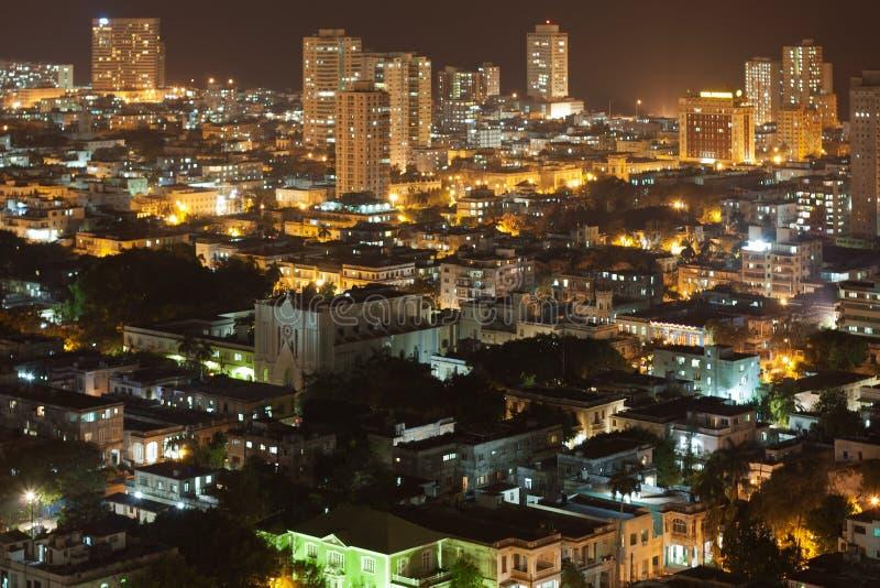 Vedado处所在晚上,古巴 免版税库存图片