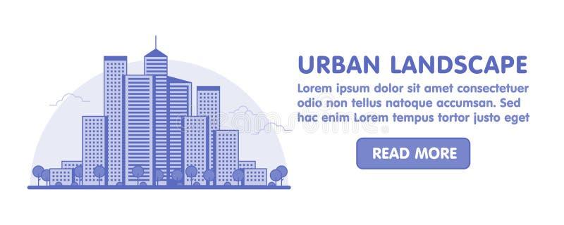 现代大城市背景线艺术与摩天大楼和树的 时髦线性样式传染媒介例证网横幅 向量例证