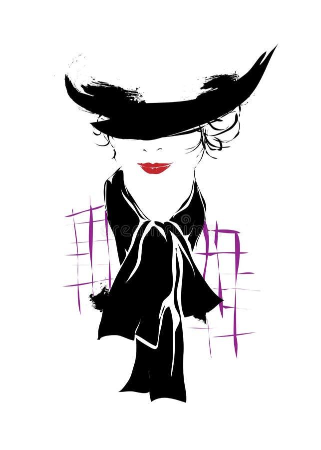 现代女孩,剪影,时兴的发型 库存例证