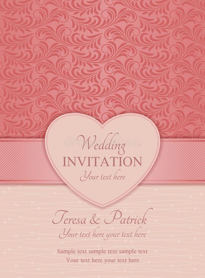 现代婚礼邀请,桃红色 库存例证
