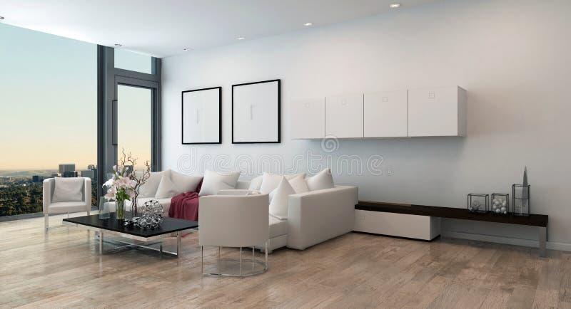 现代客厅在高层公寓 库存例证