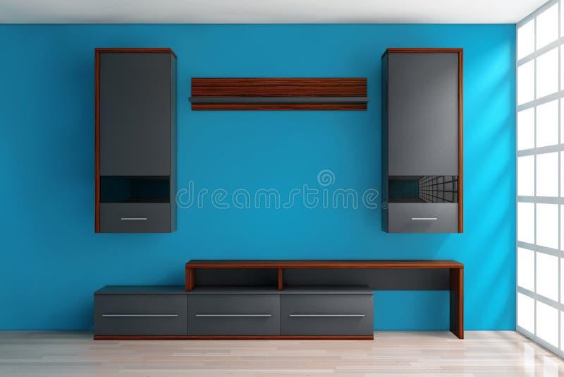 现代客厅组合壁橱在屋子里 3d翻译 库存例证
