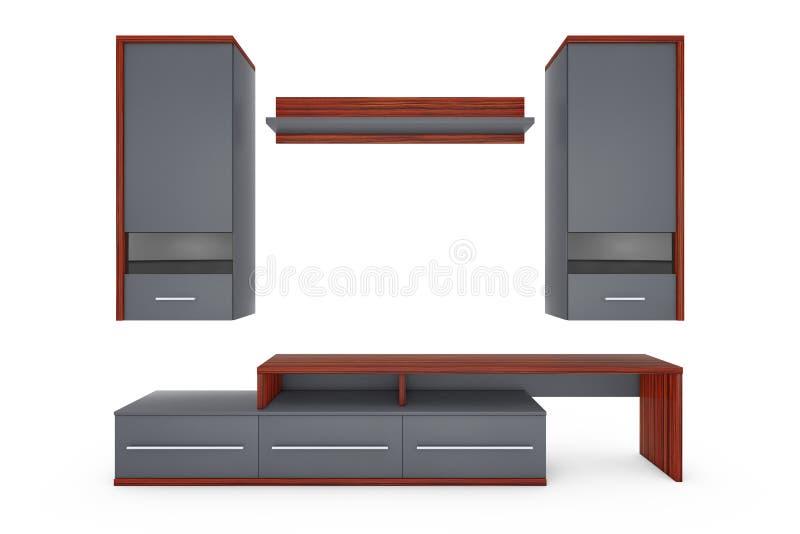 现代客厅组合壁橱 3d翻译 皇族释放例证