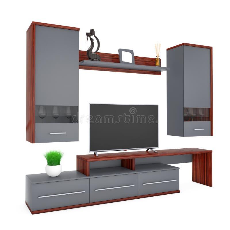 现代客厅组合壁橱 3d翻译 库存例证
