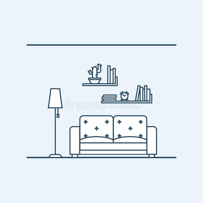 现代室内设计住在公寓或房子 在一个舒适的沙发旁边的灯 有时钟的书架 向量例证