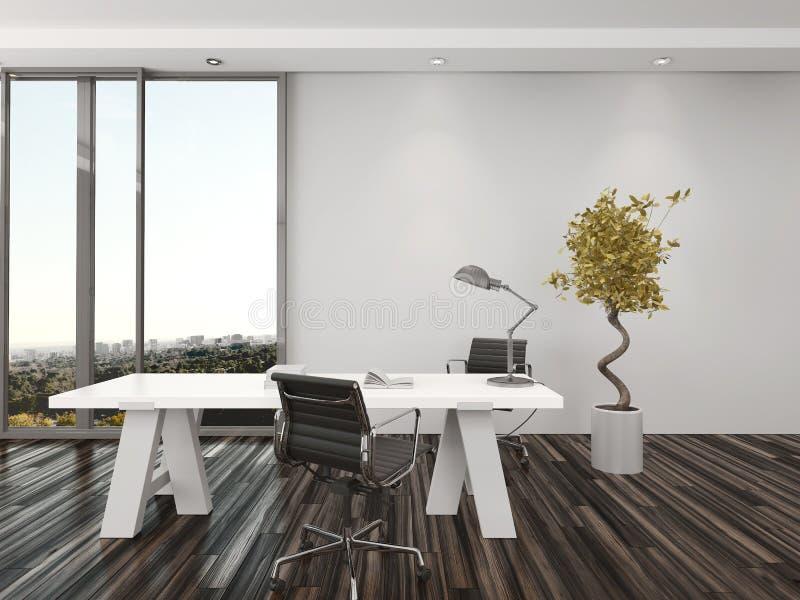 现代家庭办公室室内设计 向量例证