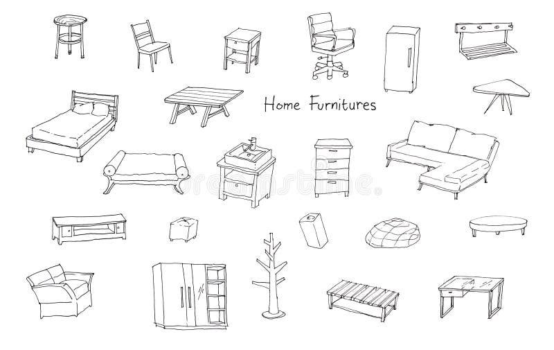 现代家庭家具品种递图画例证 向量例证