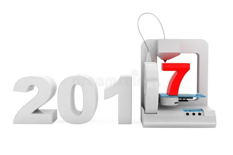 现代家3d打印机印刷品新的2017年标志 3d翻译 皇族释放例证