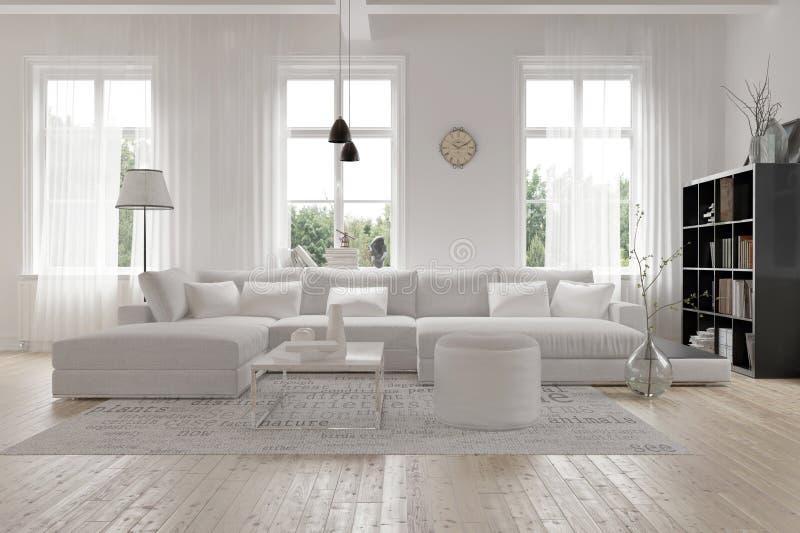 现代宽敞白色休息室内部 库存例证