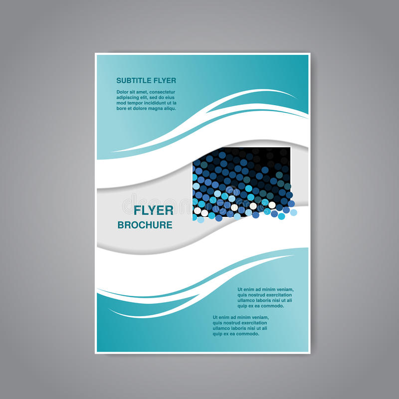 现代小册子、抽象飞行物或者书与波浪设计,海报,布局模板,杂志封面 向量例证