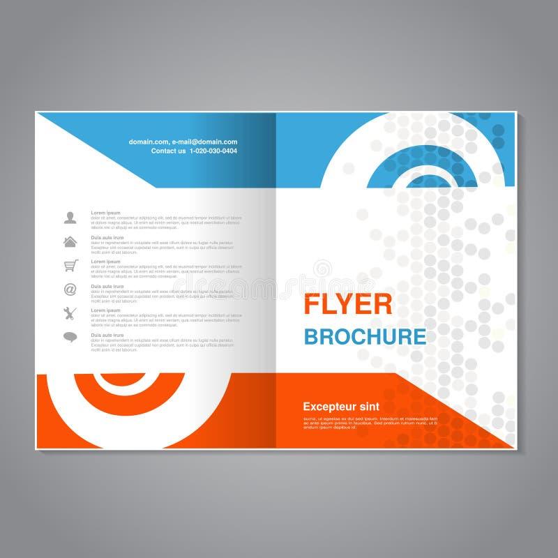 现代小册子,与简单的被加点的设计的抽象飞行物 与蜗牛元素的布局模板 A4大小的长宽比 海报  向量例证