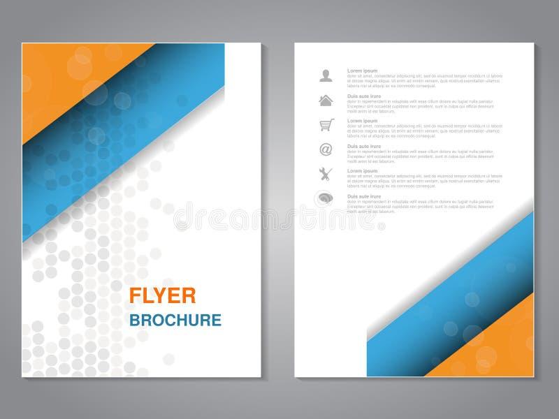 现代小册子,与简单的被加点的设计的抽象飞行物 布局模板 A4大小的长宽比 海报蓝色,橙色,灰色 向量例证
