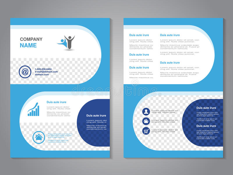 现代小册子,抽象飞行物,与圆形的简单设计 布局模板 A4大小的长宽比 蓝色海报, dar 库存例证