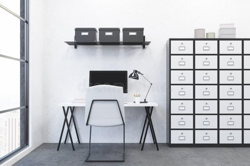 现代工作场所在办公室 库存例证