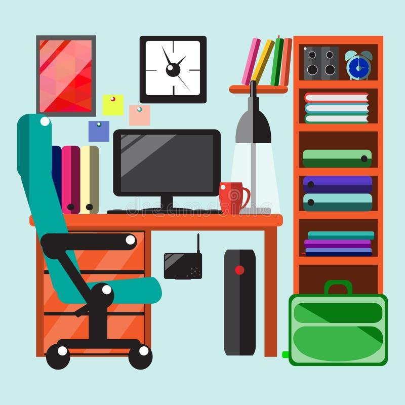 现代工作场所在屋子里 库存例证