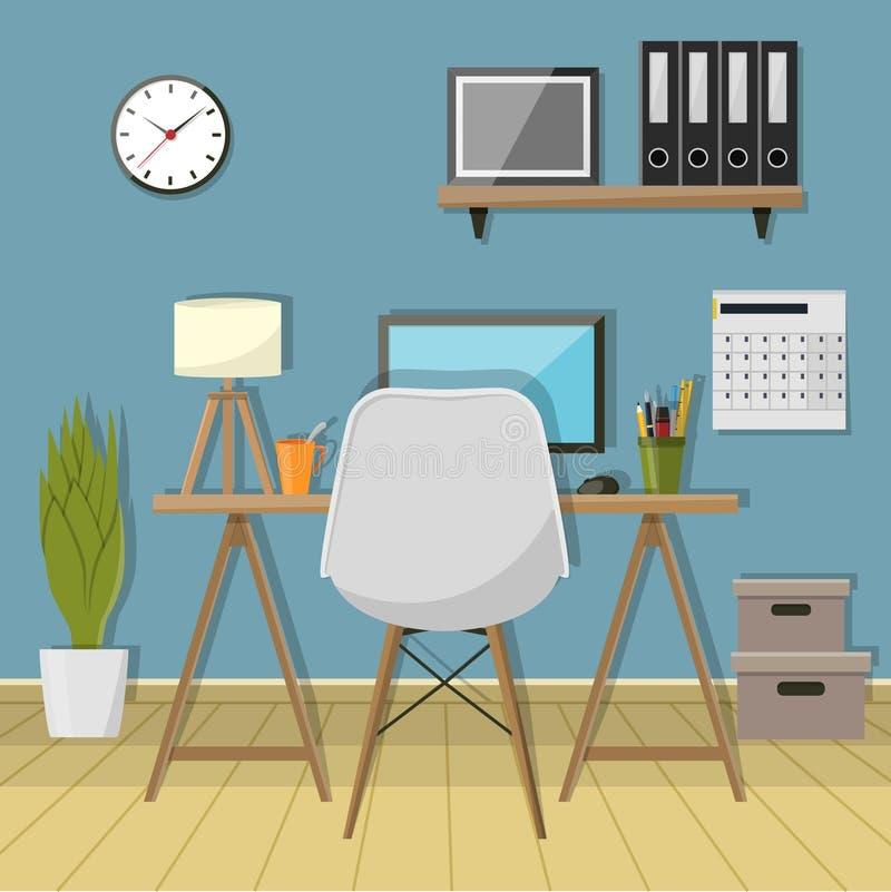现代工作场所的例证在屋子里 创造性的办公室工作区 库存例证
