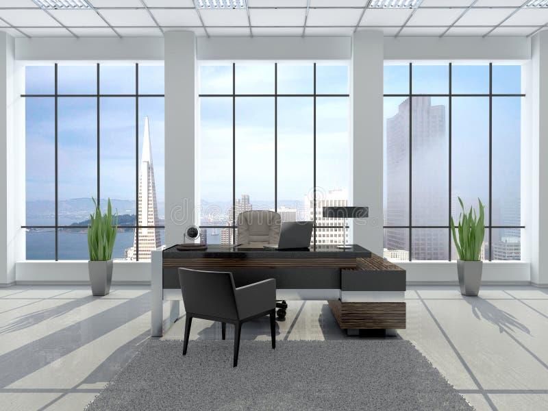现代工作场所的例证在有大风的一个办公室 向量例证