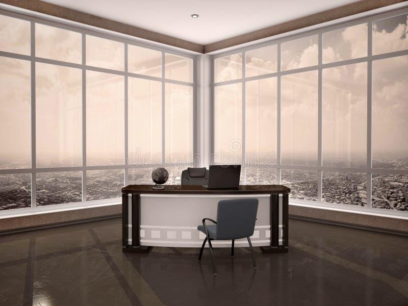现代工作场所的例证在有窗口的a办公室 向量例证