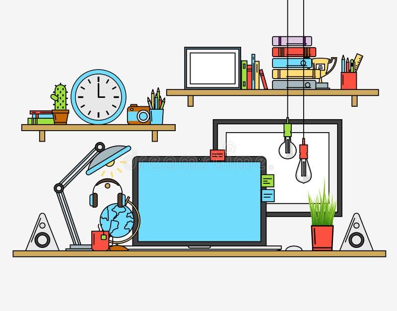 现代工作场所的例证 与地图的创造性的办公室工作区 平的minimalistic样式设计 库存例证