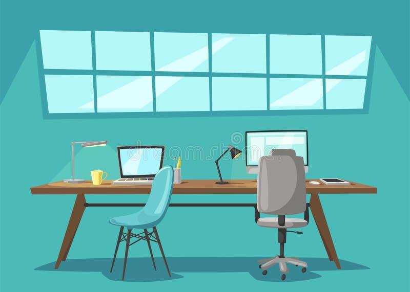 现代工作场所 事务 外籍动画片猫逃脱例证屋顶向量 向量例证