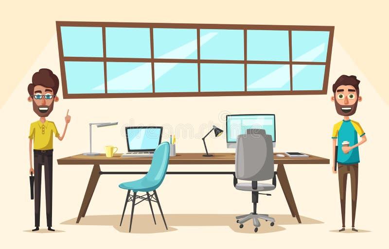 现代工作场所 创造性的字符 事务 外籍动画片猫逃脱例证屋顶向量 向量例证