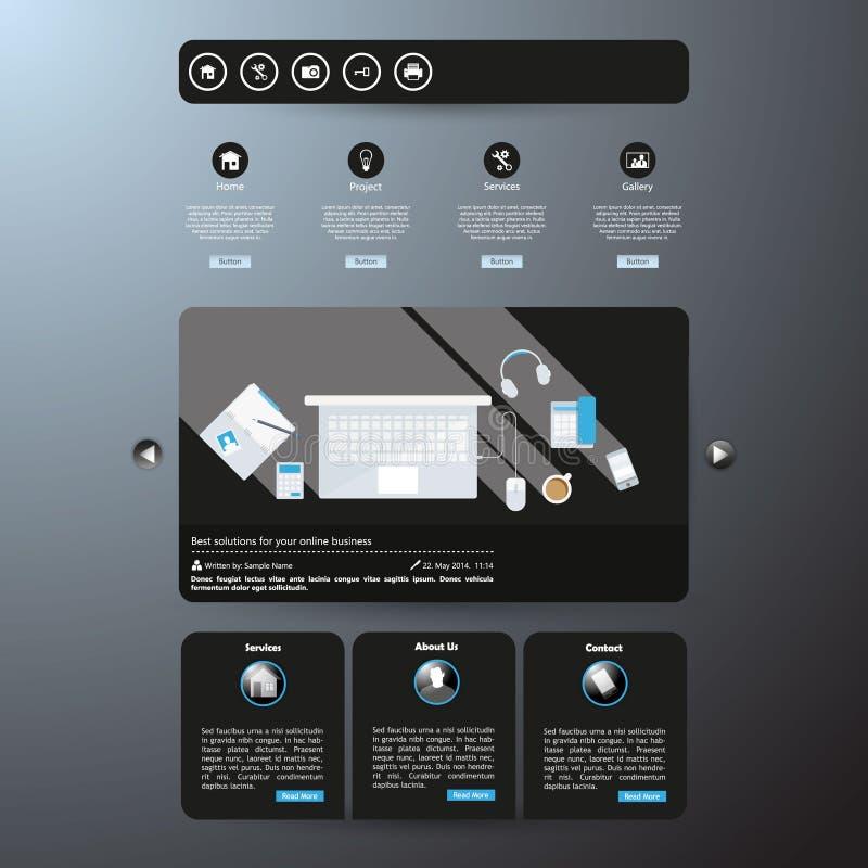 现代干净的网站模板 库存例证