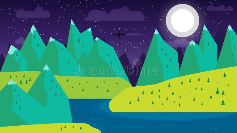 现代平的与月亮、山、河和湖的设计概念性风景 美好的森林场面的例证 皇族释放例证