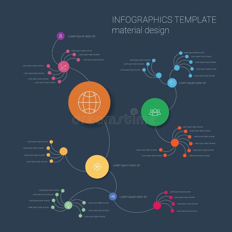 现代平的物质设计infographics模板 向量例证