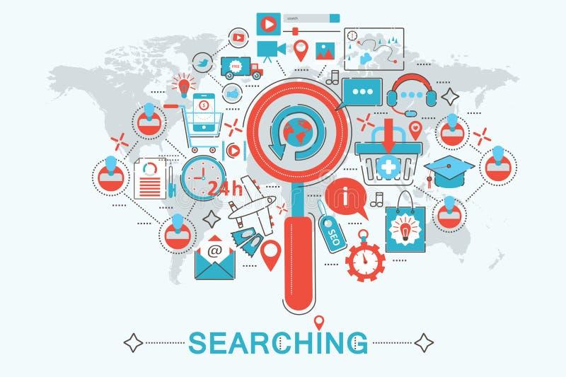 现代平的稀薄的线搜寻seo发现概念的设计网横幅网站、介绍、飞行物和海报 向量例证