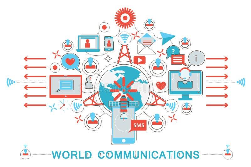 现代平的稀薄的线设计世界通信概念 向量例证