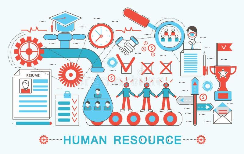 现代平的稀薄的线设计人力资源概念 库存例证