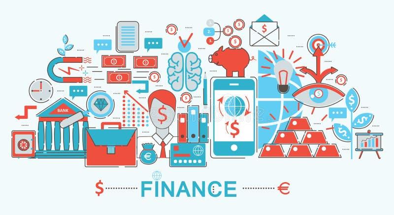 现代平的稀薄的线设计财务和银行业务概念 向量例证