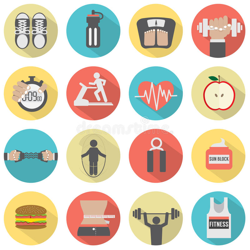 现代平的设计健身象集合 库存例证